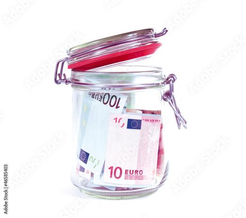 Geldscheine im Glas