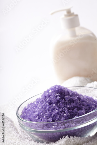 bath salt with towel