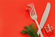 Christmas menu concept over red background
