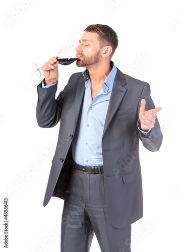 Portrait business man with glass wine