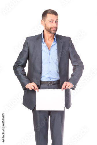 Portrait businessman showing an empty board to write