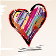 love concept, colorful heart with paint strokes, grungy style