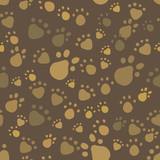 Brown vintage pet legs imprint seamless pattern