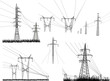 electric towers set isolated on white