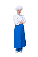 smiley chef in blue apron