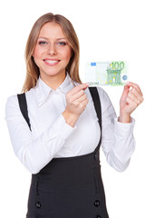 woman showing one hundred euros