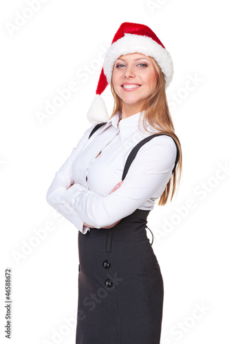 woman in santa hat standing