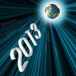 Year 2013 Flying to earth globe