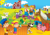 Fototapety The farm illustration for kids - happy and educational