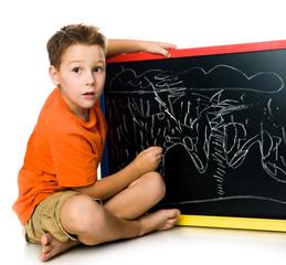 schoolboy with a board