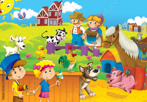 Fotobehang Boerderij The farm illustration for kids - happy and educational