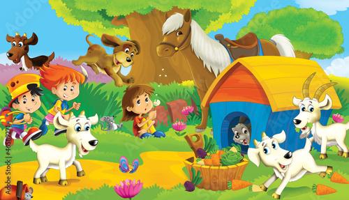 Foto op Canvas Boerderij The farm illustration for kids - many different elements