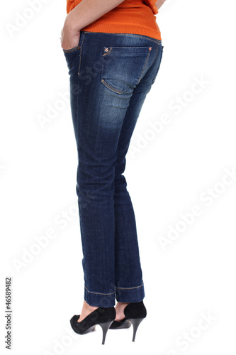 Close female blue jeans