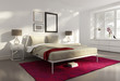 Elegant white red luxury bedroom, fresh design style