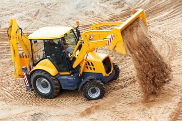 Excavator Loader at earth moving works