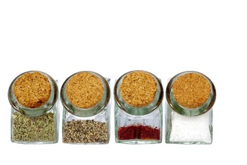 Four glasses of spices