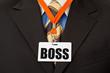 Geschäftsmann mit Ausweis am Schlüsselband -Boss, Chef