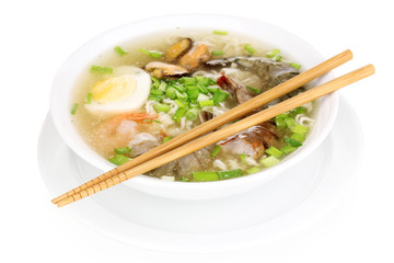 Chinese soup isolated on white