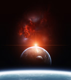 Fototapety Earth with Planets and Red Nebula on background
