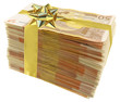 liasse de billets en paquet cadeau