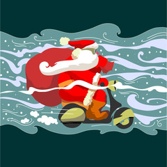 Santa Klaus on a moped
