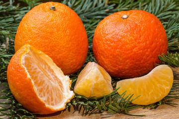 Mandarinen mit Tannenzweige