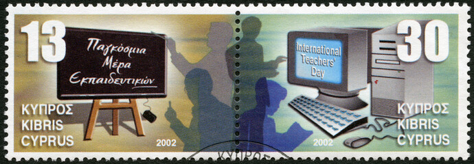 CYPRUS - 2002: shows Blackboard and teachers, Computer and teach