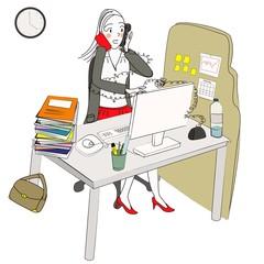 femme moderne débordée au travail