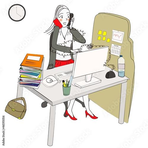 """foto de """"femme moderne débordée au travail"""" photo libre de droits"""