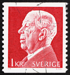 Postage stamp Sweden 1972 King Gustaf VI Adolf