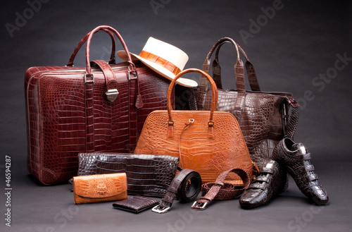 Set of products which made of crocodile leather