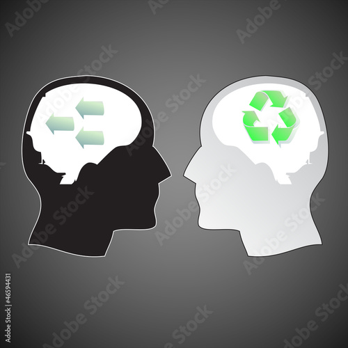 two human heads with different ideas