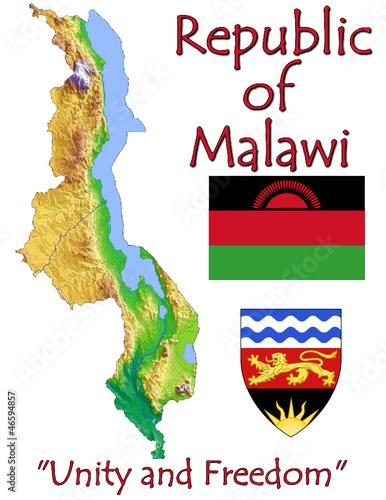 Malawi Africa national emblem map symbol motto
