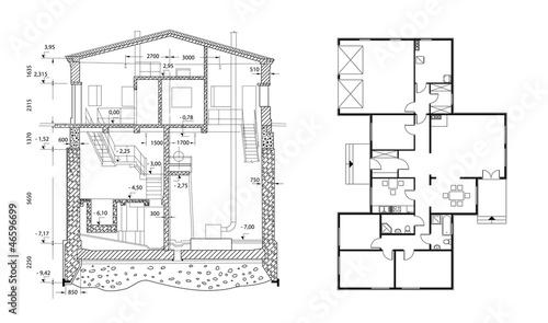architect house plan. vector blueprint
