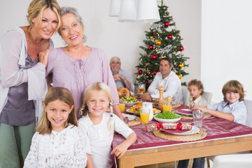 Three generations of women at christmas time