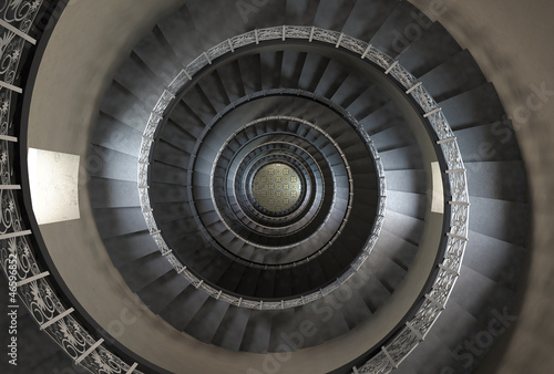 10'th floor of vintage spiral staircase - 46596852
