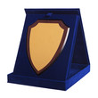 shield shaped trophy in a blue award box