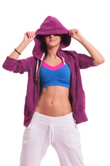 woman dancer hiding eyes with hoodie