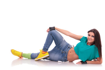 street dancer laying on the floor