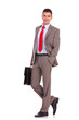 business man with suitcase standing