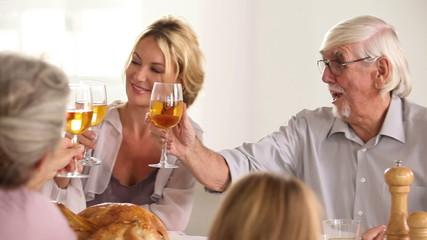 Family toasting at family dinner