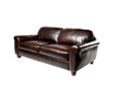 Brown genuine leather sofa bench isolated on white background