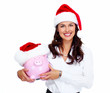 Santa Christmas business woman with a piggy bank.