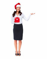 Santa helper business woman with a present.