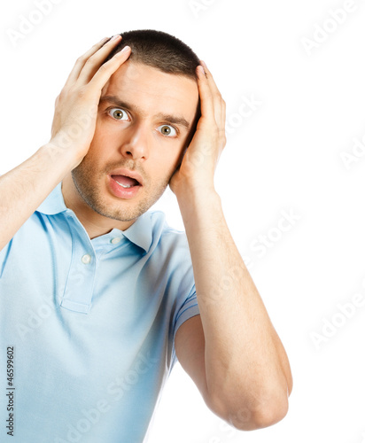 Shocked man, isolated over white