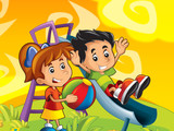 Cartoon kids playing - illustration for the children