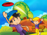 The frisbee fun in the park - illustration for the children