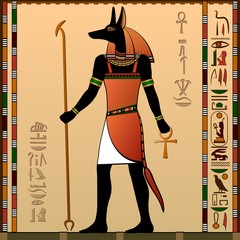 Ancient Egypt. Anubis - the jackal-headed deity.