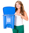 Woman encouraging to recycle