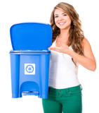 Woman encouraging to recycle poster
